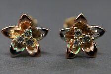 Beautiful Flower Design 14K Solid Tri Color Stud Earrings!! (#1159162)