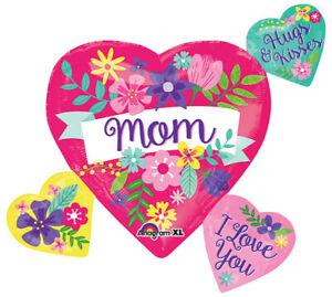 """27"""" Mother's Day Mom Multi Balloon Hugs and Kisses I Love You Helium"""