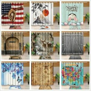 71x71 inch Waterproof Fabric Shower Curtain and Bathroom Mat Sets  12 Hooks New