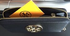 NEW TORY BURCH SAFFIANO LEATHER ZIP CONTINENTAL BLACK WALLET