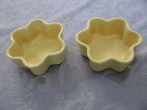 Lot of 2 Chantal Stoneware Yellow Flower Shaped Baking Dish 93-DA121 Cup