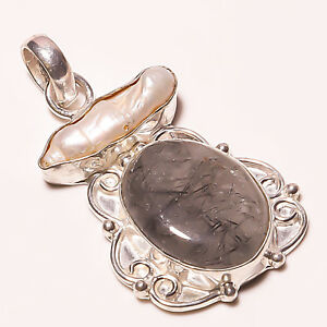 Party Wear ! Black Rutile Biwa Shell Gemstone Silver Plated Handmade Pendant 2""