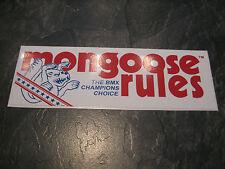 Mongoose BMX Sticker Vecchia Scuola Bmx Mongoose regole BMX ADESIVO ORIGINALE 80S RARA