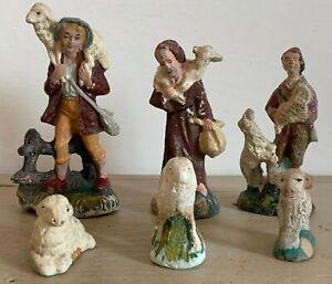Antiche Vintage Statuine Presepe 3 Pastorelli 3 pecorelle in pasta di terracotta