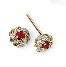 9ct Yellow Gold Earrings Ruby & Diamond Swirl Design Stud Gold Earrings GE2002R
