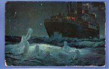 SUPER 1907 BEAUTIFUL MERMAIDS ANGELS IN SEA LEAVING STEAM SHIP VINTAGE POSTCARD