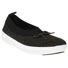 New Womens FitFlop Black Uberknit Ballerina With Bow Nylon Trainers Elasticated