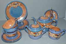 Vintage Japan Lusterware Tea Set for 4 Luster Ware 15pc Complete LG Teapot Bird