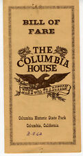 1963 Menu from the Columbia House Restaurant Columbia Ca
