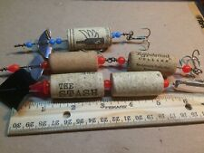 3 WINE Cork wire thru FISHING LURES handmade MUSTACHE WINES usable Conversation