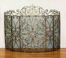 """French Scroll Old World Antique Gold Iron Fireplace Fire Screen Large 62""""W"""