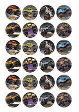 24 x MONSTER JAM TRUCKS Edible Cupcake Toppers CAKE DECORATIONS Wafer Rice Paper