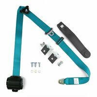 3pt Blue Retractable Seat Belt With Angled Mounting Brackets & Standard Buckle