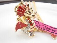 Betsey Johnson fashion jewelry Rhinestones red dragon pendant necklace # H036