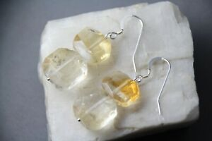 """Citrine Gold Yellow Natural Gemstone faceted .925 Sterling Silver Earrings 2"""""""