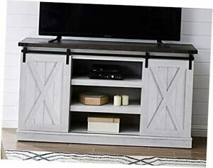 Farmhouse Sliding Barn Door TV Stand for TV up to 65 Inch Flat Gray Wash