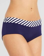 Ladies Midnight Grace Preppy Stripe Bikini Short Figleaves Swim Blue Size 8 XS