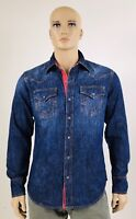$149 Red Brick True Religion Men Shirts Denim Western Blue M L XL 2XL 3XL