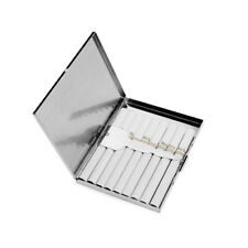 New listing 9 Cigarette Case Silver Stainless Steel Metal Slim Box Holder Tobacco Silver Us