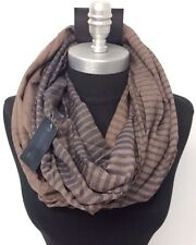 Men's Striped lightweight Circle Infinity Loop Scarf Shawl Wrap Soft Brown/Blue
