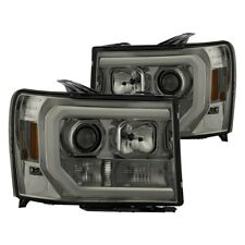 New Set of 2 LED OPTIC Tube Projector Headlights Smoke for GMC Sierra 07-13 Pair