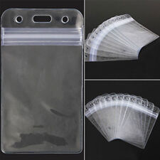 10X Clear Transparent PVC Plastic Pocket Wallet ID Card Pass Badge Holder