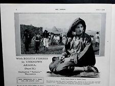 1923 The SPHERE-RaRe F.Matania Cover,Rosita Forbes Asir Arabia Toheia,King Siam