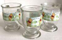 Disney Winnie The Pooh Cup Set Of 3 Gotta Bee Me Winnie the Pooh Glass Mugs