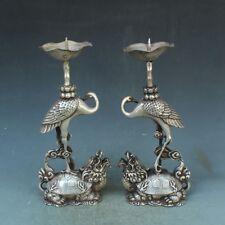 "8.5""China Silver bronze Crane Dragon Turtle Candle Stick Statue Pair h1291"