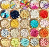 50 pcs. Mulberry Paper Flower embellishment with thread stem 12 mm. SKA3-1(1)