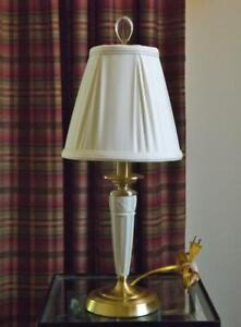 """Lenox Quoizel Brass Table Lamp 21"""" Tall Glass Finial Fabric Shade"""