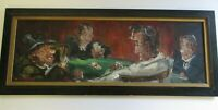 LARGE OIL PAINTING CARD PLAYERS POKER GAMING ROOM CASINO BAR CLUB PORTRAIT MOD