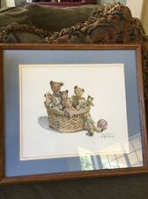 Collectible Signed Dorothy Shoemaker Bears In A Basket Framed Print