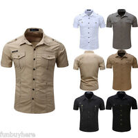 Mens Short Sleeve Cargo Casual Shirts Military Air Army Tactical Combat Work Top