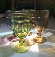 "Libbey ""Gibraltar"" iced tea-soda, FOUR colored goblets. 1980s."