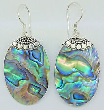 Artisan Crafted Abalone Shell Ov 30x20 Dangle Earrings in 925 Sterling Silver