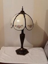 #  Pair Of Metal And Glass Antique Pair Lamps Vintage  Home Interiors & Gifts