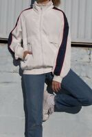 brandy melville white zip up Lauren hoodie windbreaker Jacket NWT sz S/M