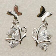 Elegant Butterfly White CZ Gems Jewelry Gold Filled Stud Woman Earrings H1347
