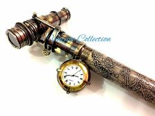 Beautiful Wood Leather Walking Sticks/Canes Brass Hidden Telescope Clock on Top