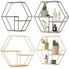 Hexagon Metal Floating Rack Hanging Wood Wall Shelf Storage Display Holder Decor