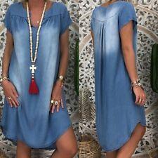 Plus Size Women's Blue Jeans Denim Short Sleeve T-shirt Loose Shirt Midi Dress
