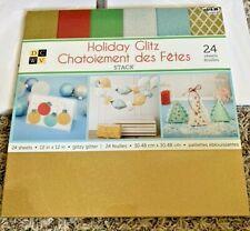 "DCWV Holiday Glitz Metallic Shimmering Cardstock Pack 12"" x 12"" 24 pk New"