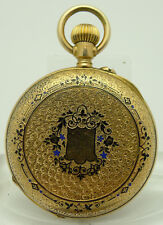 PRUNKUHR TRAUMHAFT GRAVIERT & ZISELIERT18KGOLD TASCHENUHR VON CA.1890 ca. 34 mm