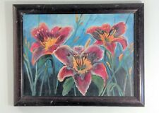 1970s Impressionism Painting - RED YELLOW LILIES- Original Canvas SIGNED FRAMED