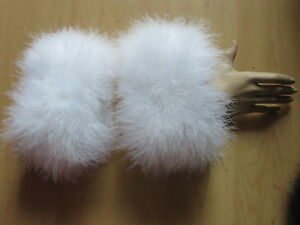 Real Ostrich Feather Fur Cuffs A Pair of Sleeve For Coat Fluffy Soft White Black