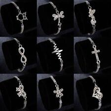 Fashion Crystal Charm Heart Flower Owl Silver Plated Bracelets Chain Women Gift