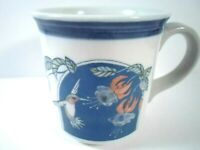 Vintage Otagiri Hummingbird Flowers Window Blue Band Coffee Mug Cup Japan