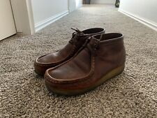 Clark Wallabee Rare Full Grain Pebbled Leather Brown