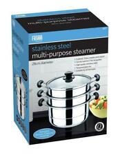 3TIER  - 28CM STAINLESS STEEL 4PC STEAMER COOKER POT SET PAN COOK FOOD GLASS LID